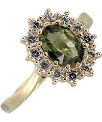 Bohemia Garnet Zlatý prsten s vltavínem a zirkony - 298H, (Au585) vel. 48