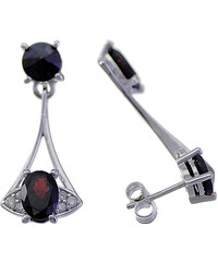Bohemia Garnet Stříbrné náušnice s granátem a zirkony - 967 53 (rhodiované)