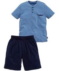 Shorty in kurzer Form Oberteil mit Knopfleiste und Logodruck auf der Brust Arizona blau 134/140,146/152,158/164,170/176,182