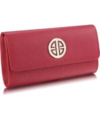 LS fashion společenská KABELKA s broží LSE0026A červená