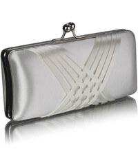 LS fashion společenská saténová kabelka LSE0062 slonová kost