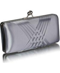 LS fashion společenská saténová kabelka LSE0062 stříbrná