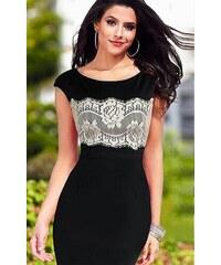 Společenské BODYCON černé šaty s krajkou
