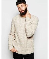 ASOS - Pullover mit Zopfmuster - Beige