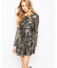 BA&SH - Howie - Robe ornementée à imprimé style Art Déco - Doré