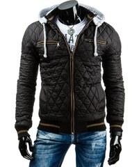 streetIN Pánská bunda s hnědým lemováním a úpletovou kapucí - černá Velikost: M