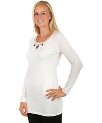 TopMode Delší tričko/šaty s dlouhým rukávem a moderní ozdobou bílá