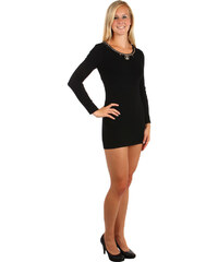 TopMode Delší tričko/šaty s dlouhým rukávem a moderní ozdobou černá