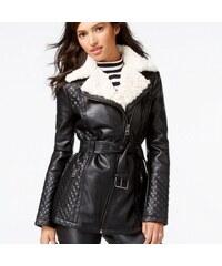 Guess Bunda Faux-Fur-Collar Belted Faux-Letaher Jacket