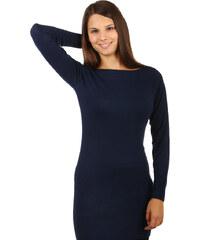 TopMode Elegantní svetr / šaty s krajkou na zádech tmavě modrá