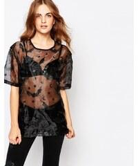 Worn By - T-shirt oversize motif chauve-souris d'Halloween - Noir