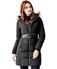 Guess Kabát Long Puffer Jacket with Faux-Fur Hood