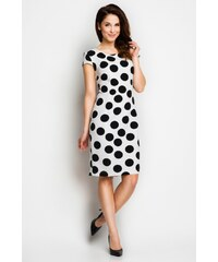 Bílé šaty s černými puntíky Awama Awa97