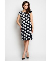 Tmavomodré šaty s bílými puntíky Awama Awa97
