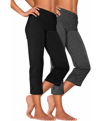 Capri kalhoty (2ks) černá + antracitový melír