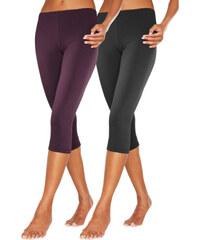 VIVANCE Dámské capri kalhoty (2ks v balení) 1x jahodová + 1x černá