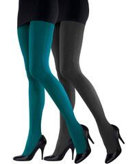 LASCANA Punčochové kalhoty, LASCANA (2ks) petrolejová+černá