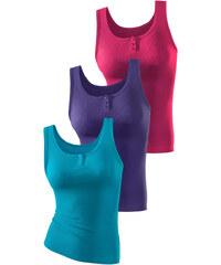 H.I.S Spodní košilky 3ks - jemné, H.I.S lila + růžová + petrolejová - jemné žebrování