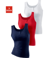 H.I.S Spodní košilky 3ks - jemné, H.I.S červená + bílá + námoř. modrá - dvojité žebrování