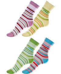 S.OLIVER Proužkované ponožky, s.Oliver (4 páry) růžová+zelená+žlutá+sv.modrá