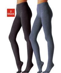 LAVANA Punčochové kalhoty z úpletu, 2ks džínová + antracit