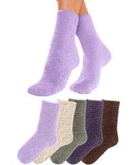 LAVANA Huňaté ponožky (5 párů) tm.hnědá+lila+šedá+režná+šeřík