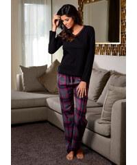 LASCANA Pyžamo, LASCANA černá-růžová kostka