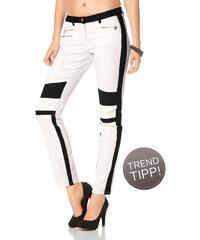LAURA SCOTT Motorskářské kalhoty, Laura Scott bílá/černá - Normální délka (N)