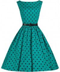 LindyBop retro šaty Audrey, tyrkysové s puntíky