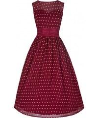 LindyBop retro šaty Cindy, vínové s puntíky