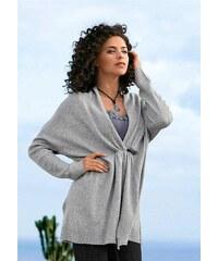 Stylový delší pletený svetr, pletený kabátek BOYSENS ve stylu ponča 40/42 šedá