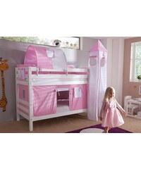 Kinder Einzel-/Etagenbett Set 4-tlg. RELITA rosa/weiß, Herz