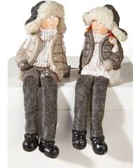 """bpc living Figurines bord d""""étagère Lars et Mimi (Ens. 2 pces.) gris maison - bonprix"""