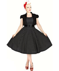 Hearts & Roses London Šaty s bolerkem Vivian Black White Polka