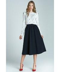 Módní sukně Midi NIFE, sukně midi pod kolena s kapsami 36 námořnická modř