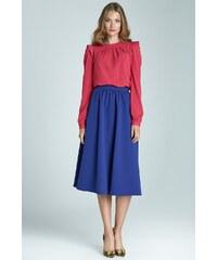 Módní sukně Midi NIFE, sukně midi pod kolena 36 modrá