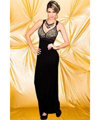 003 Společenské šaty dlouhé černé/tygrované