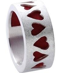 Allaxo Silber-Ring Herzen mit Filz 16740, 56/17,8