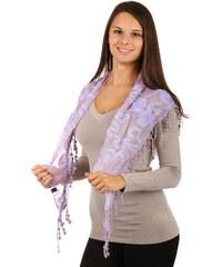 TopMode Elegantní šátek s třásněmi a našitými motivy fialová