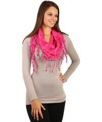 TopMode Elegantní šátek s třásněmi a našitými motivy tmavě růžová