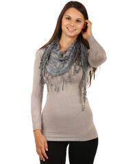 TopMode Elegantní šátek s třásněmi a našitými motivy šedá