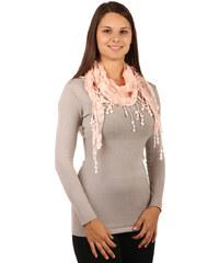 TopMode Elegantní šátek s třásněmi a našitými motivy světle růžová