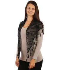 TopMode Elegantní šátek s třásněmi a našitými motivy černá