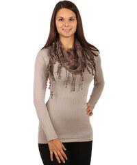 TopMode Elegantní šátek s třásněmi a našitými motivy hnědá