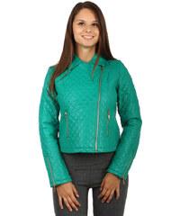 TopMode Moderní koženková prošívaná bunda s asymetrickým zipem zelená