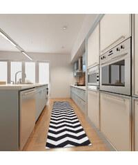 Webtapetti Vysoce odolný kuchyňský koberec Optical Black White, 60x220 cm