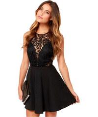 001 Společenské černé šaty s krajkou