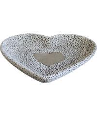 StarDeco Miska se srdcem - cement 18,5 cm