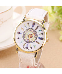 Lesara Armbanduhr mit Feder-Motiven - Weiß