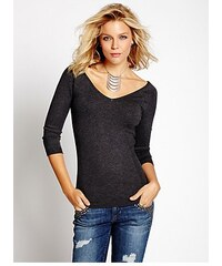 56cbef014c1 Svetr Guess Three-Quarter Sleeve Double V-Neck Sweater šedý